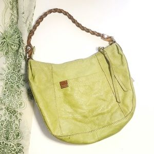 Fossil Shoulder Lime Green Leather Purse Braided